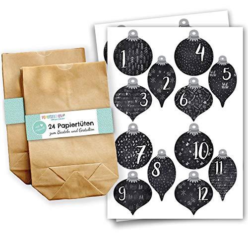 Adventskalender om te vullen – met 24 bruine papieren zakken en 24 zwarte stickers voor kerstballen – om zelf te maken en te knutselen – mini-set nr. 60 – Kerstmis 2019 voor kinderen