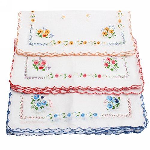 Pinzhi® 12x Damentaschentücher Baumwolle Taschentuch Stofftaschentuch 30x30cm(Farbe zufällig)