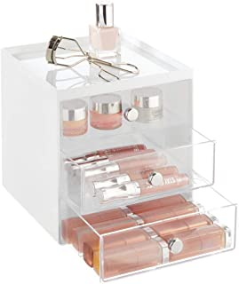mDesign Plastic Makeup Organizer Storage Station Cube with 3 Drawers for Bathroom Vanity, Cabinet, Countertops - Holds Lip Gloss, Eyeshadow Palettes, Brushes, Blush, Mascara - White/Clear