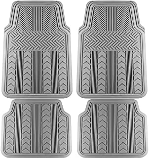 Motorup America Auto Floor Mats (4-Piece Set) All Season Rubber - Fits Select Vehicles Car Truck Van SUV, Arrow Gray