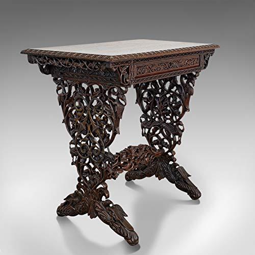 Antiker kleiner Schreibtisch asiatisch Palisander Beistelltisch Lampe Tisch viktorianisch 1850