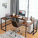 COSTWAY Industrial Computer Desk, U-Shaped Large Desktop Workstation PC Laptop Table, Home Office Work Study Writing Desk for Bedroom Living Room