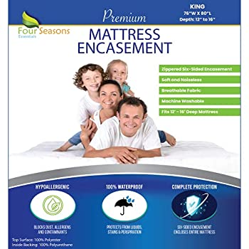 King Size Mattress Protector Bed Bug Waterproof Zippered Cover Hypoallergenic Premium Quality Encasement Protects Against Liquids Dust Allergies - Breathable Noiseless