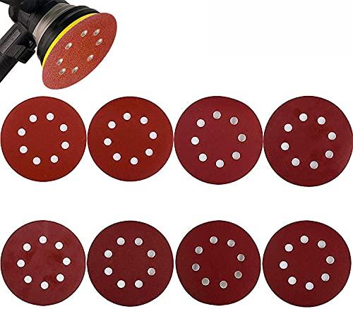 80 Stück P320-P2000 Schleifpapier Selbstklebende Scheiben Schleifscheiben 125 mm Rund für Holzwerkstoffe Spanplatte Metall (rot)