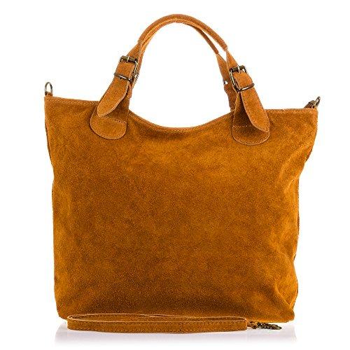 FIRENZE ARTEGIANI. Vera pelle signora borsa shopping bag. Rifinito in pelle genuino borsa in pelle scamosciata. MADE IN ITALY. VERA PELLE ITALIANA. 40x28x10 cm. colore: nero