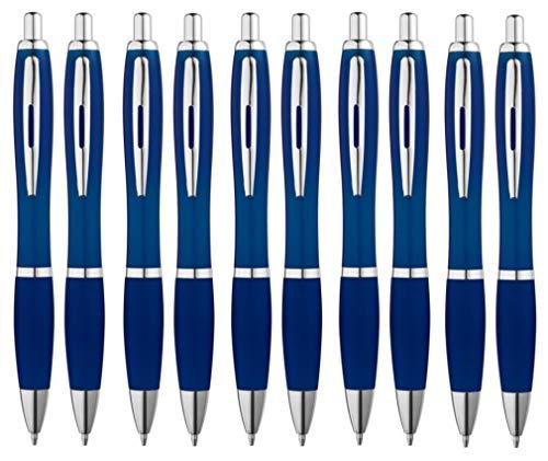 Libetui 10-er Pack Kugelschreiber blauschreibend rutschfeste Griffzone Großraumine Blau Gehäuse Dunkelblau