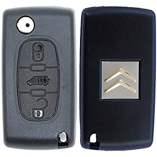 RKFUK Citroen Replacement 3 Button Remote Car Key Fob Case with VAN Symbol and VA2 Flip Blade