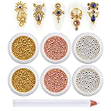 3D Nail Caviar Beads for Nail Art Metal Mini Nail Ball Beads Gold Silver Rose Gold Nail Studs DIY...