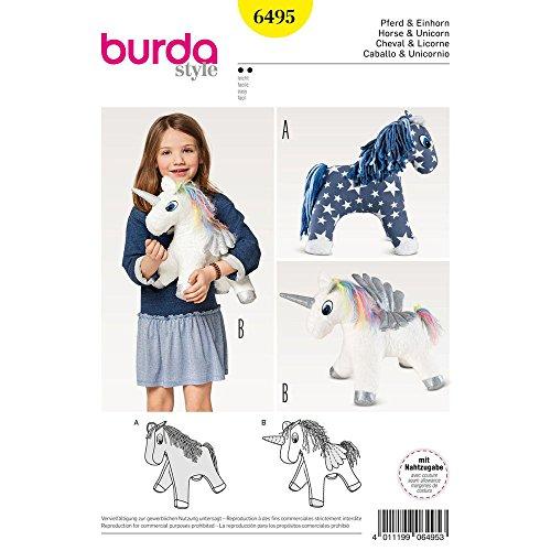 Burda Crafts Schnittmuster 6495 für Stofftier-Pferd und Einhorn-Spielzeug