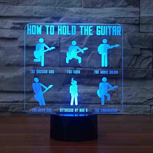 3D Visual USB Kid Gifts 7 modelleerlamp voor gitaristen, kleurverandering, voor het vasthouden van de gitaar, LED-tafellamp, touch-knop, nachtlampje