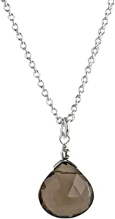 Noble 1.7 Carat Smoke Quartz Pendant 925 Silver Collier Chain Smoketopas Gemstone