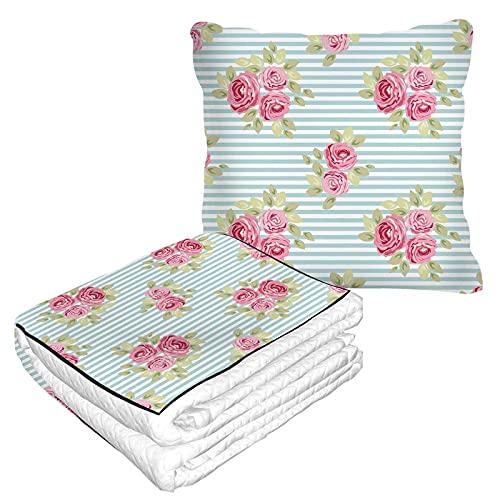 Manta de viaje con rosas y rayas, 2 en 1, linda ropa de cama o tela de tela de avión, manta de franela mullida