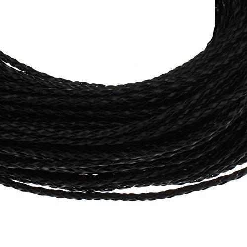 Perlin 5 Meter Lederband GEFLOCHTEN PU Leder 3mm SCHWARZ Schnur Lederbänder C227