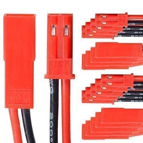 partCore BEC JST Steckverbinder Stecker Buchse mit Kabel AWG 20 10 Paar