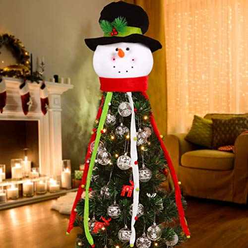 Garneck Christmas Tree Topper, 42.5inch Snowman Winter Holiday Christmas Snowman Treetop Decor for Party Holiday Xmas New Year Winter