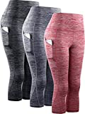 Neleus Women's 3 Pack Tummy Control High Waist Yoga Capri Leggings with Pockets,9034,Black,Grey,red,M,EU L