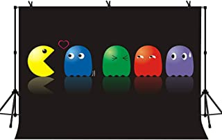 LYLYCTY 7x5ft Cute Pac-Man Game Background Color Pac-Man in Black Background for Pac-Man Game Theme Photography Party Decoration Background LYZY0942