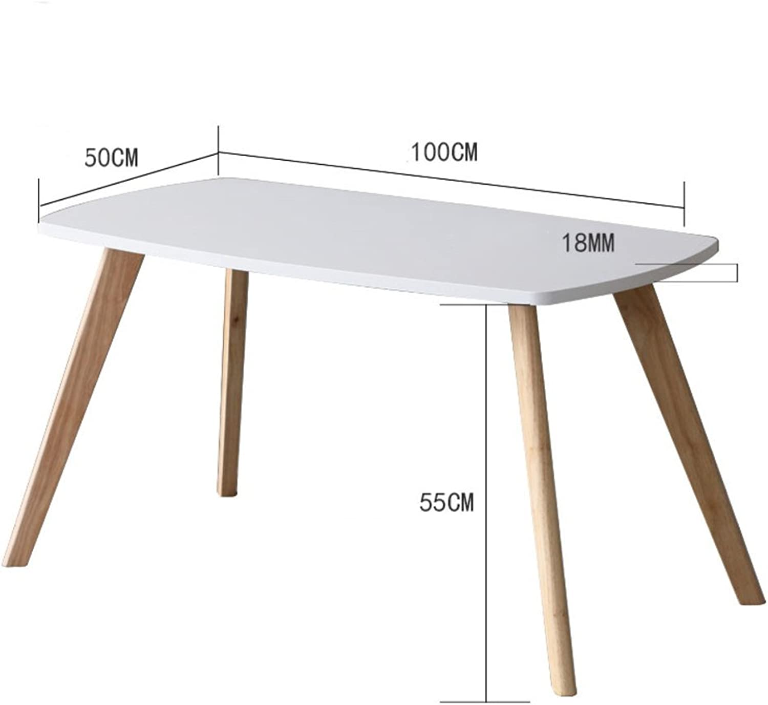 Solid Wood Rectangle Sofa Table, Living Room Decoration Side Table Coffee Table Bedroom Night Table Telephone Table-White L100xW50xH55cm