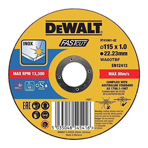 DEWALT DT43901-QZ DT43901-QZ-Disco de Corte Plano INOX con Grano Profesional de óxido de Aluminio Fast Cut 115 x 1.2 x 22.23mm, Multicolor