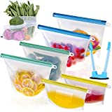 Reusable Silicone Food Storage Bags & Holder,6 Silicone Bags Reusable and 4 Free