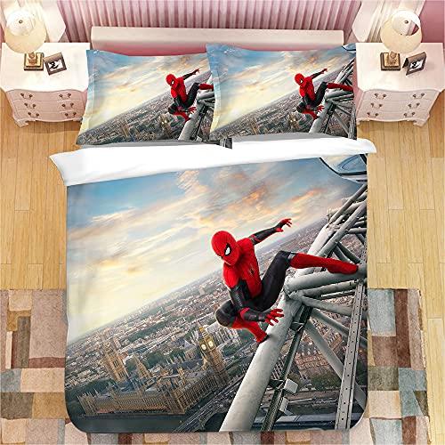 Aatensou - Juego de ropa de cama de Spiderman, microfibra 3D, juego de 3 piezas, incluye 1 funda nórdica de 135 x 200 cm y 2 fundas de almohada (ZH4,220 x 240 cm + 50 x 75 cm x 2).