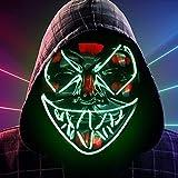 Molbory Máscara de Halloween con luces LED, con 3 efectos de luz en la oscuridad, para Halloween, cosplay, carnaval,...