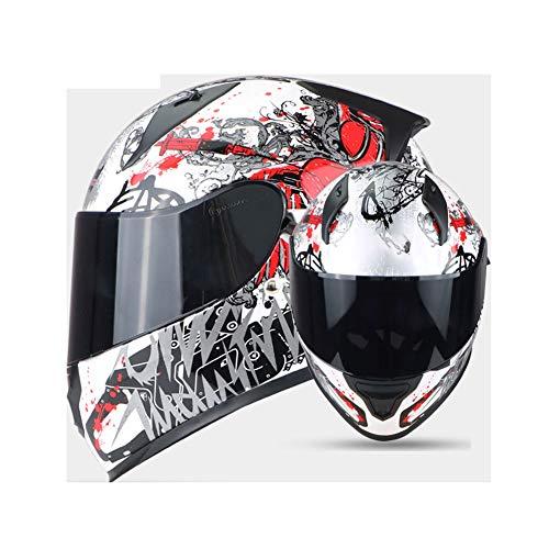 (Angel Tranen Zwarte Brillen) Motorhelm Heren Volledige Helm Dubbele Lens Dames Vier Seizoenen Zomer Anti-Mist Volledige Cover