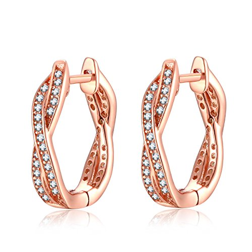 Qings 925 Sterling Silver Hoop Earrings Rose Gold with Cubic Zirconia Simulated Diamond Gifts for Women Fashion Jewelry