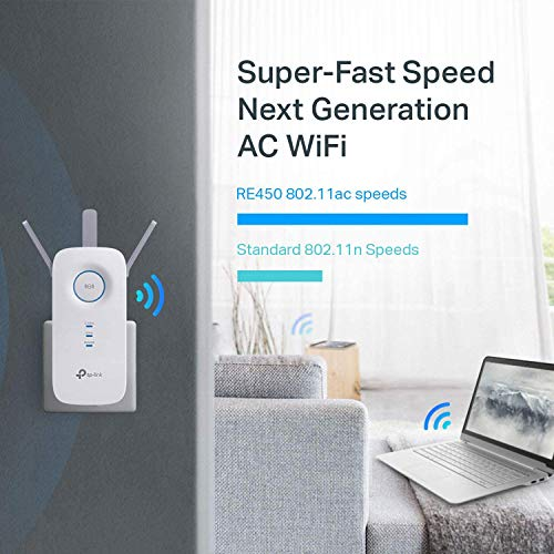 Product Image 1: TP-Link AC1750 WiFi Extender (RE450), PCMag Editor's Choice, Up to 1750Mbps, Dual Band WiFi Repeater, Internet Booster, Extend WiFi Range further
