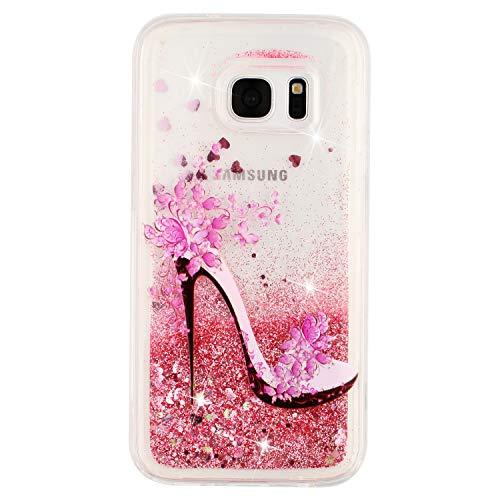 Funda para Samsung Galaxy S7 Bling Cover Arena Movediza Shell Lentejuelas Cáscara Glitter Fluido Líquido Bumper Brillar Cristal Protección Quicksand Caso Claro Gel Tapa Caja-Tacones Altos