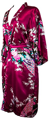 Kimono de CC Collections 16 Colores Shipping Bata de Vestir túnica lencería Ropa de Noche Prenda Despedida de Soltera (Rojo Burdeos)