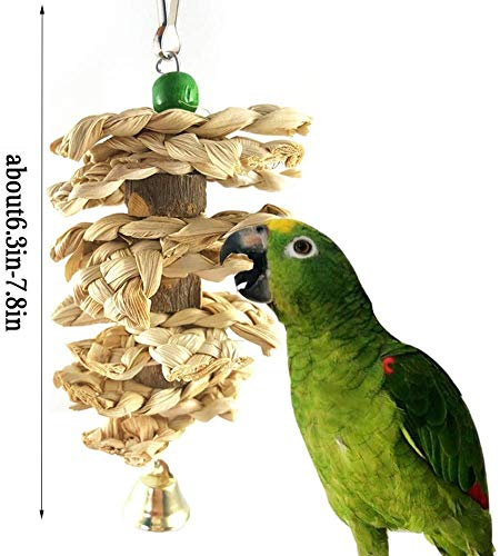Parrot Toys Chewing Bird Toy Cuttle Bone Beak Grinding Cage Hanging Bell Toys for African Greys Amazon Conure Eclectus Budgies Parakeet Cockatiel Hamster Chinchilla Rabbit, 3 Pack