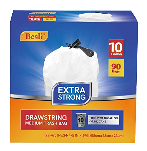 Besli 10 Gallon Drawstring Trash Bag Garbage Bag Trash Can Liner,0.9 Mil,90 Counts