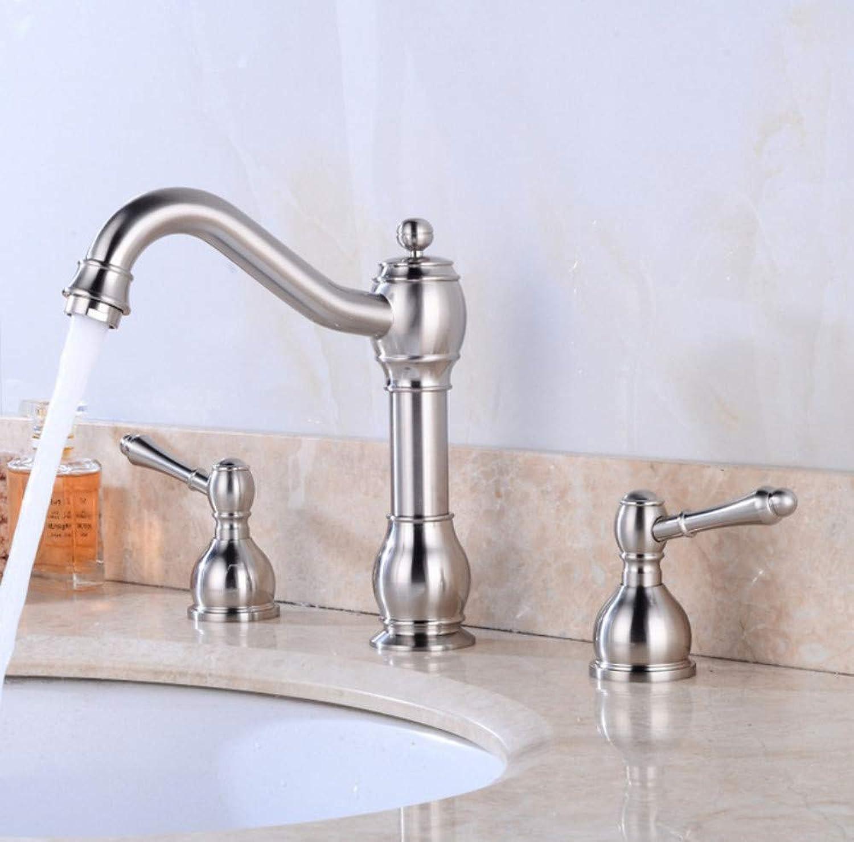 ROTOOY Design gebürstetem Nickel Becken Hahn Doppelgriff 3-teiliges Set Wasserhahn warm und kalt Wasser Bad Mischer