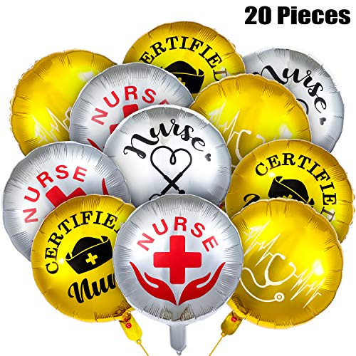 20 Pezzi Nurse Palloncino di Laurea Palloncino di Celebrazione della Classe Infermieristica Palloncino di Laurea Lattice Decorazione per Forniture di Decorazioni per Feste di Laurea 2020, 4 Stili