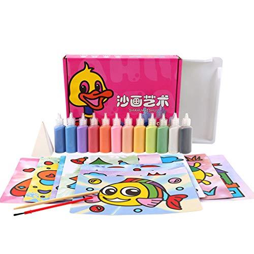 kdjsic Kinder Baby Kinder DIY Sandmalerei Spielzeug Zeichenbrett Set Handmade Picture Paper Craft Art