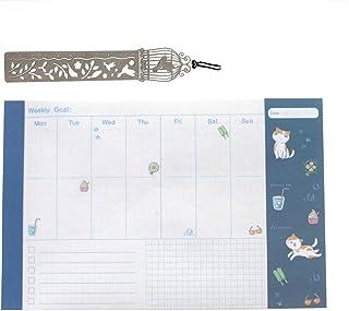 ウィークリープランナー マンスリー 月間ノート 手帳 目標 生産性 達成 かわいいメモ スケジュール帳 メタルルーラー付き
