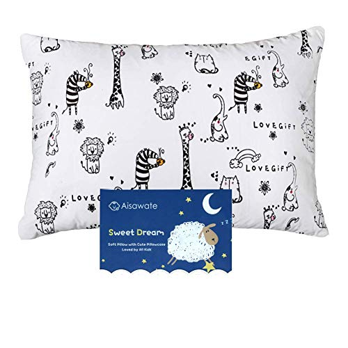 Toddler Pillow with Pillowcase - 13X18 Soft Cotton Baby Kids Pillows for...