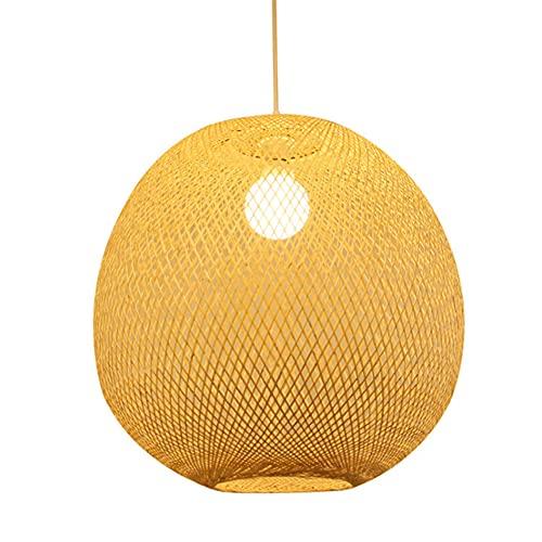 WANGYAN Lámpara Colgante De Tejido De Bambú De Estilo Japonés Araña De Arte De Bambú Natural Creativo Pantalla De Mimbre De Bambú De Una Sola Cabeza E27Rattan Art Lámpara De Techo con Lámpara