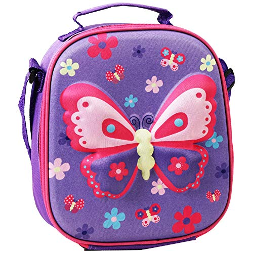 Lunch Bags for Kids, KEAIDUO 3D Insulated Reusable LunchTote Cooler Lunch Box for Girls Boys Lunch Snack Bag for Kid Thermal Bags School Picnic (Purple Butterfly)