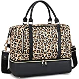 CAMTOP Weekender Travel Bags for Women Ladies Overnight Duffle PU Leather Trim Carry On Luggage Tote Bags fit 15.6 Inch Laptop Computer (Leopard with Shoe Compartment)