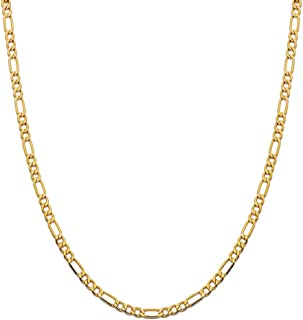 14K Yellow Gold 3.5mm Figaro Link Chain Necklace- Made In Italy- Multiple Lengths Available (30)