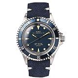 Walter Mitt Royal Marine Taucher Edelstahl 316L Automatik Miyota Blau Leder Unisex Uhr