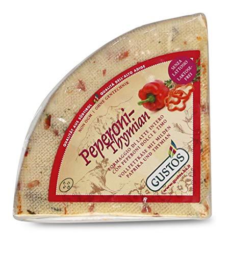 Paprika-Thymian-Käse von Gustos, 650 GR ca, Thymian und Paprika machen aus diesem halbfesten Schnittkäse aus Kuhmilch einen unwiderstehlichen Hochgenuss