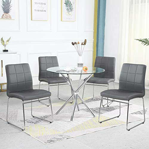 Dining Table Set for 4,Modern Kitchen Table and Chairs for Small Space,Round Glass Dining Table+Faux Leather Dining Room Chairs Set of 5 Pieces,Easy Assembly for Home Business(Table+4 Grey Chairs)