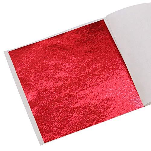 KINNO Foglia Oro 100 Fogli Foglia Oro Metallizzata Colorata per Arti e Mestieri, Decorazioni per Unghie, Dipinti 8x8,5 cm (Rosso)