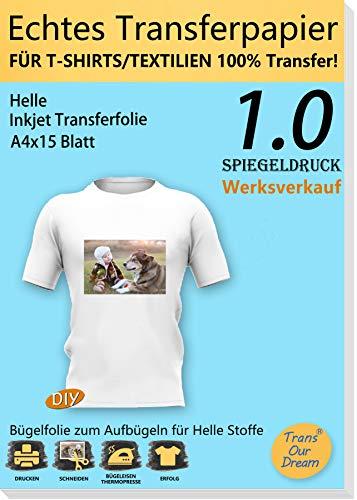 TransOurDream ECHTE Inkjet Bügelfolie Transferfolie Transferpapier,Textilien Transferfolie,T-Shirt Aufbügeln,A4X15 Blatt,gespiegelt drucken,bedruckbare Vinyl(1.0-15)