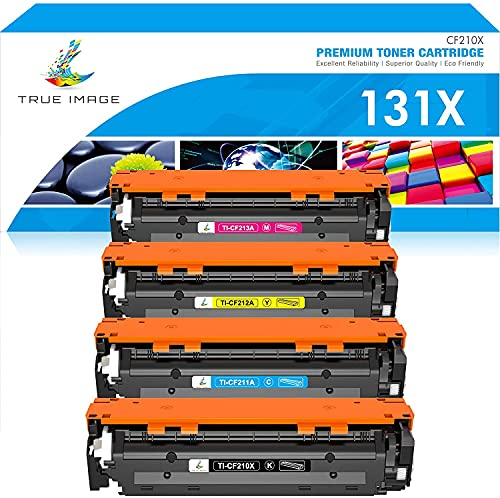 TRUE IMAGE Compatible Toner Cartridge Replacement for HP 131X CF210X 131A HP Laserjet Pro 200 Color MFP M276nw M251nw M251n M276n CF210A CF211A CF212A CF213A Toner (Black Cyan Yellow Magenta, 4-Pack)