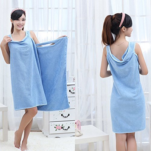 OZKET Women Microfiber Bath Robe Towel Convenient Wearable Bath Wrap Beach Towel Dress Girls/Ladies/Free Size (Random Color)