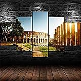 Cuadro Lienzos Decorativos 5 Piezas Cuadros Decoracion Salon Modernos Grandes Dormitorios XXL Impresión Pintura Arte,Roma Roma Ciudad Italia(Marco,59X32Inch)